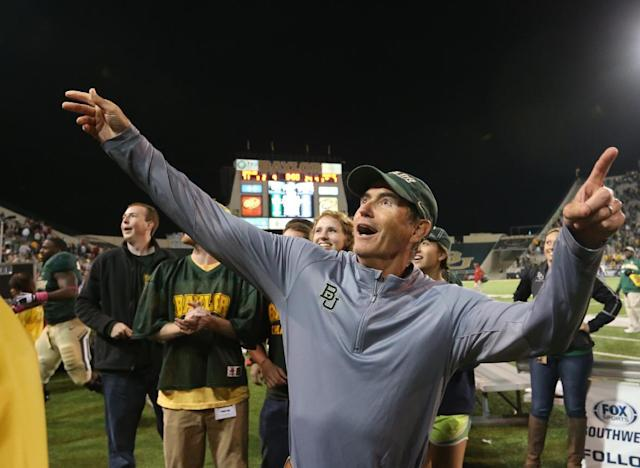 CORRECTS PHOTOGRAPHER - Baylor head football coach Art Briles reacts to their win over Iowa State following an NCAA college football game, Saturday, Oct. 19, 2013, in Waco, Texas. Baylor won 71-7. (AP Photo/The Waco Tribune-Herald, Michael Bancale)