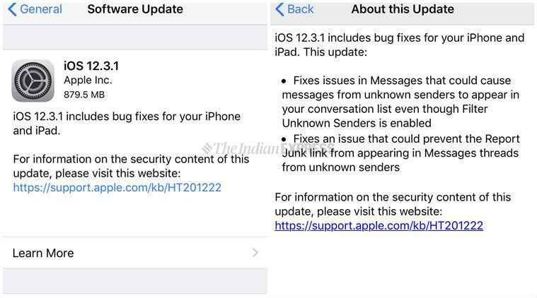 Apple update, iOS update, new update for iphone,12.3.1 update for iphone, update iphone, indian express
