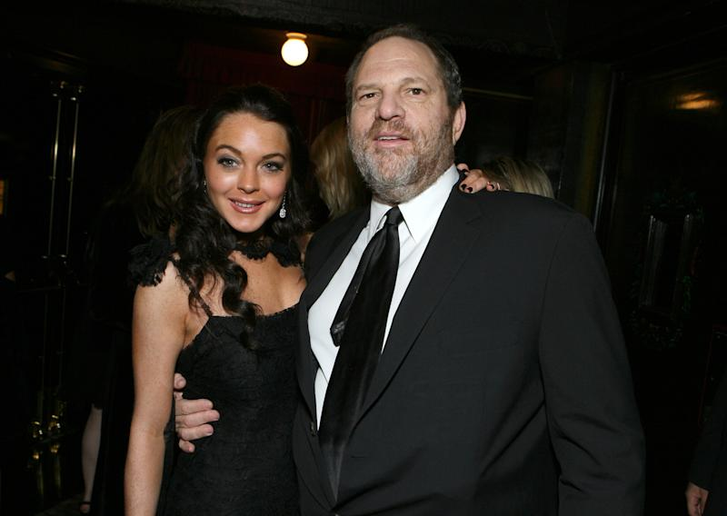 "Lindsay Lohan and Harvey Weinstein at the premiere of ""Bobby."" (E. Charbonneau via Getty Images)"