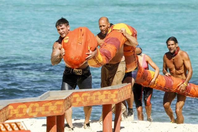 Caleb Reynolds and Tony Vlachos compete in challenge on Survivor: Game Changers