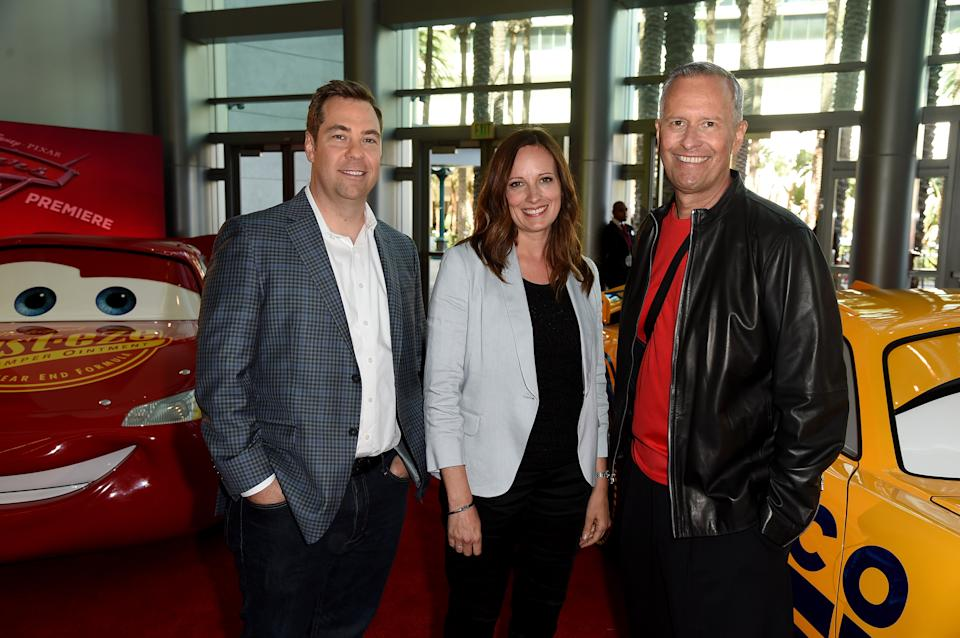 ANAHEIM, CA - JUNE 10:  (L-R) Director Brian Fee, producers Andrea Warren and Kevin Reher attend the premiere of Disney and Pixar's