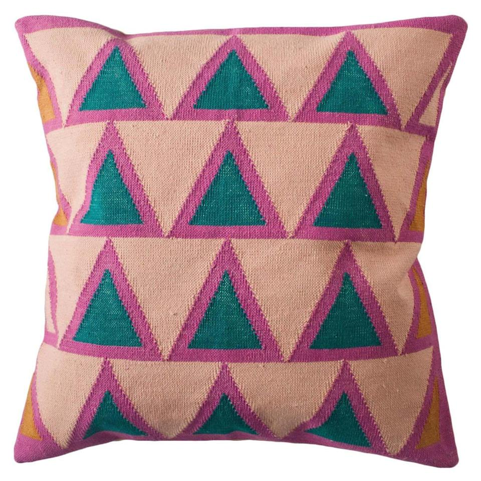 """<p><strong>Geometric Maya</strong></p><p><strong>$112.00</strong></p><p><a href=""""https://go.redirectingat.com?id=74968X1596630&url=https%3A%2F%2Fwww.1stdibs.com%2Ffurniture%2Fmore-furniture-collectibles%2Ftextiles%2Fpillows-throws%2Fgeometric-maya-light-pink-modern-throw-pillow-cover%2Fid-f_24525872%2F&sref=https%3A%2F%2Fwww.housebeautiful.com%2Fshopping%2Fg37871730%2F1stdibs-annual-fall-sale-2021%2F"""" rel=""""nofollow noopener"""" target=""""_blank"""" data-ylk=""""slk:Shop Now"""" class=""""link rapid-noclick-resp"""">Shop Now</a></p><p>This geometric throw pillow cover was handwoven by artisans in Rajasthan, India, who used a weaving technique that is native to this area.</p>"""