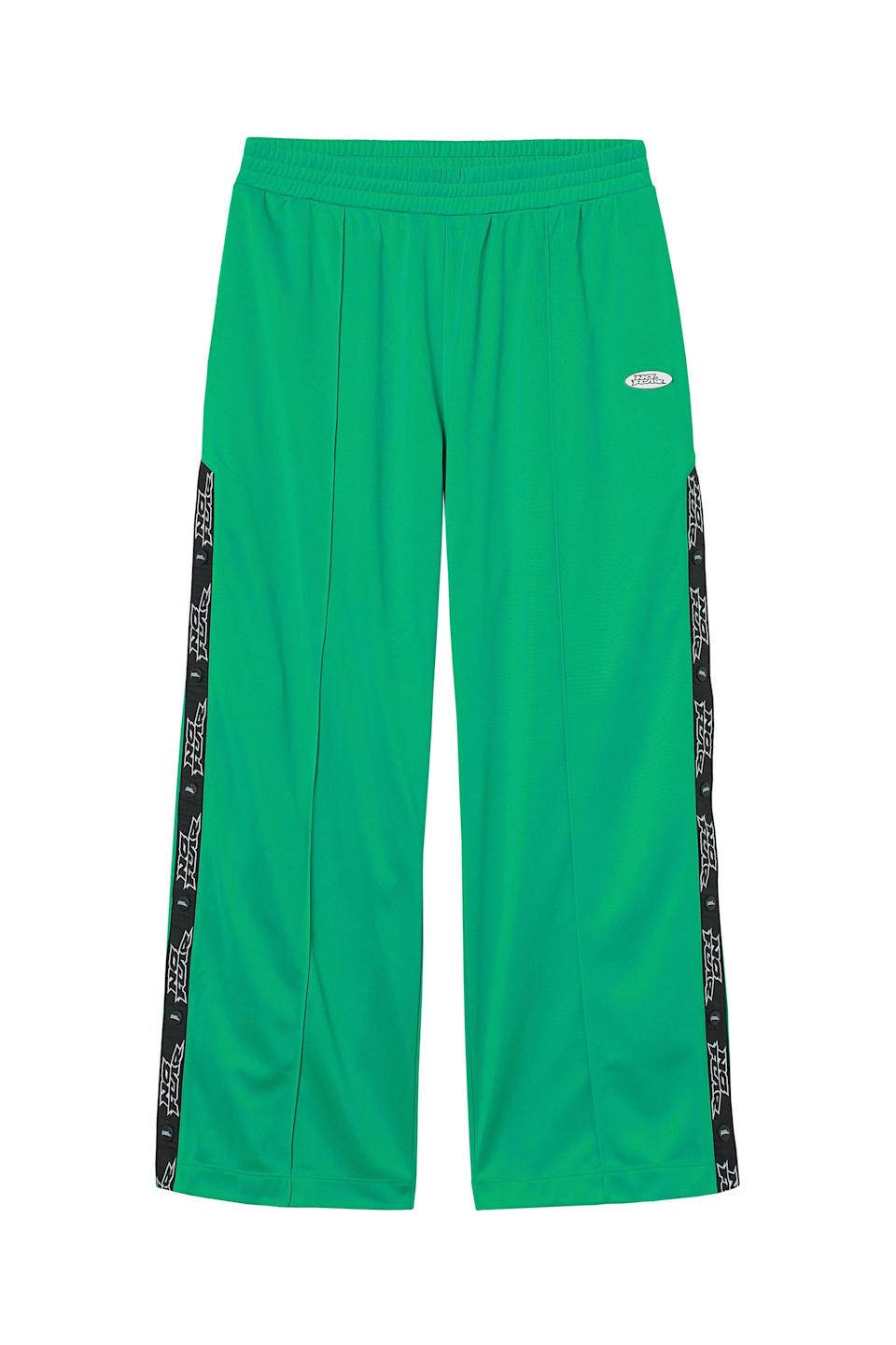 <p>Pair that jacket with these matching <span>No Fear x H&amp;M Wide-leg Sports Joggers</span> ($25). They also look great with just a black crop top.</p>