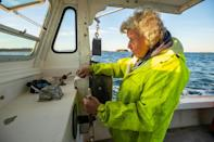 """Oliver goes out into the waters off the city of Rockland three days a week with her 78-year-old son Max, who helps her crew the boat, aptly named by her late husband """"Virginia,"""" after her"""