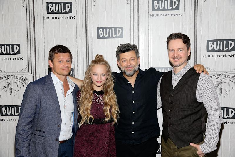 "NEW YORK, NY - JULY 11: (L - R) Steve Zahn, Amiah Miller, Andy Serkis, and Matt Reeves attend Build to discuss ""War For The Planet Of The Apes"" at Build Studio on July 11, 2017 in New York City. (Photo by Bennett Raglin/WireImage)"