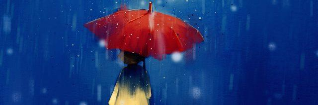 digital painting of girl with red umbrella in rainy at night, acrylic on canvas texture, story telling illustration