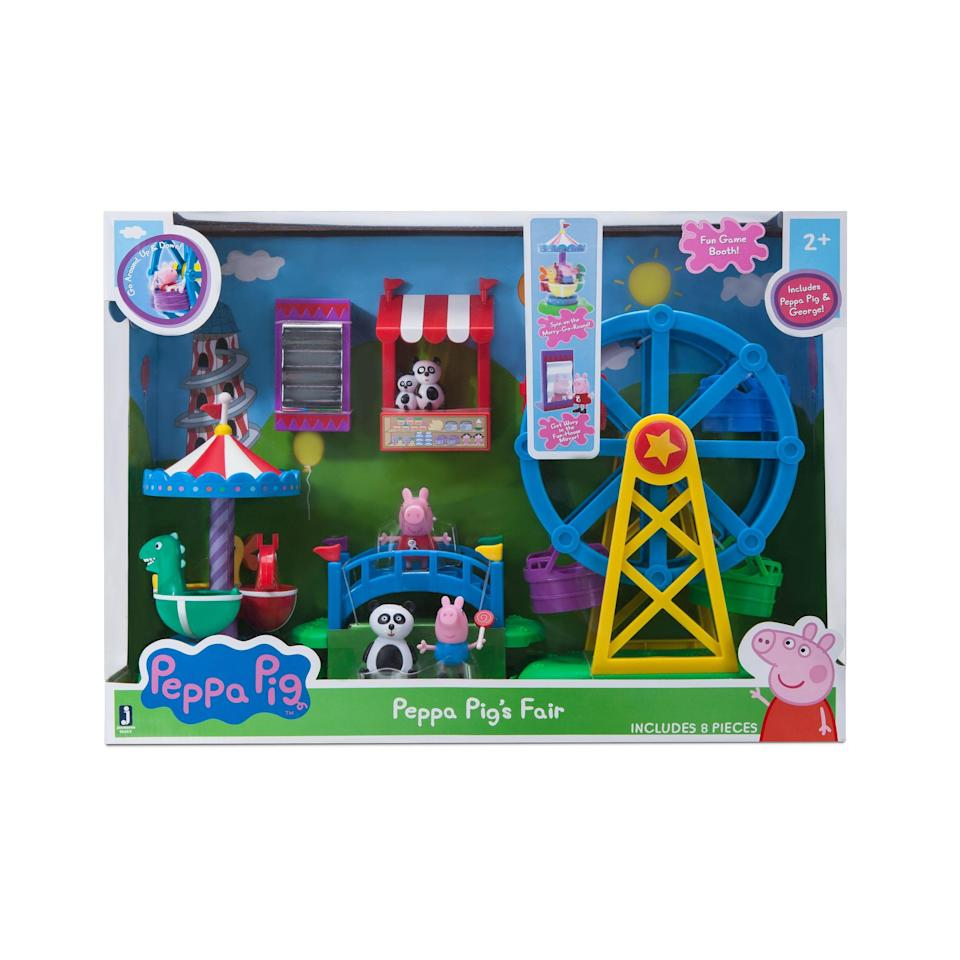 "<p><strong>Peppa Pig </strong></p><p>walmart.com</p><p><strong>$42.34</strong></p><p><a href=""https://go.redirectingat.com?id=74968X1596630&url=https%3A%2F%2Fwww.walmart.com%2Fip%2F798464137&sref=https%3A%2F%2Fwww.goodhousekeeping.com%2Fchildrens-products%2Ftoy-reviews%2Fg5150%2Fbest-toys-for-two-year-olds%2F"" rel=""nofollow noopener"" target=""_blank"" data-ylk=""slk:Shop Now"" class=""link rapid-noclick-resp"">Shop Now</a></p><p>You can immediately see why this adorable toy is such a hit: The eight-piece set <strong>comes with a ferris wheel, merry-go-round, game booth and more,</strong> so your toddler can spend hours filled playing with the World of Peppa. <em>Ages 2+</em><br></p>"