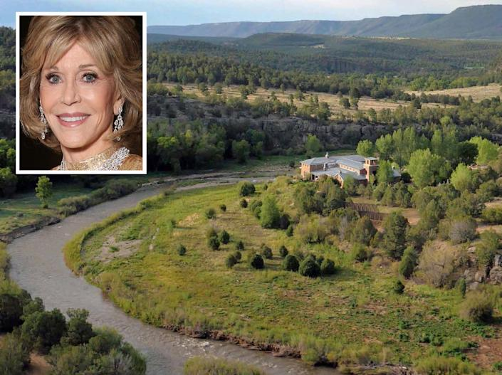 """<p>The main residence, called the River House, sits on a bend of the Pecos River. <i>(Large photo via <a href=""""http://bit.ly/1oZ16Zz"""" rel=""""nofollow noopener"""" target=""""_blank"""" data-ylk=""""slk:Swan Land Company"""" class=""""link rapid-noclick-resp"""">Swan Land Company</a>; September 2015 inset photo of Jane Fonda by Todd Williamson via Getty Images for Fox Searchlight)</i> </p>"""