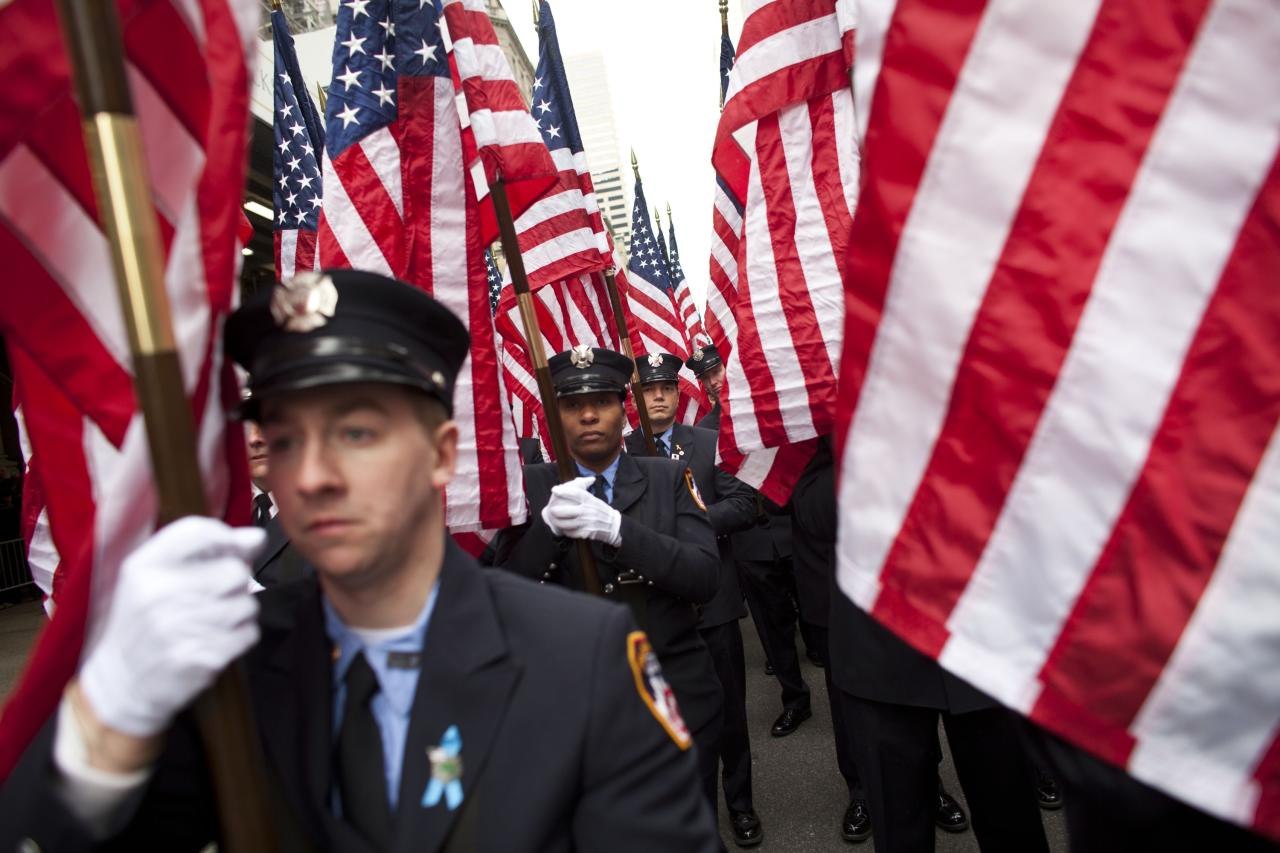 NEW YORK, NY - MARCH 16: Members of FDNY march on Fifth Avenue during the 252nd annual St. Patrick's Day Parade March 16, 2013 in New York City. The parade honors the patron saint of Ireland and was held for the first time in New York on March 17, 1762, 14 years before the signing of the Declaration of Independence. (Photo by Ramin Talaie/Getty Images)