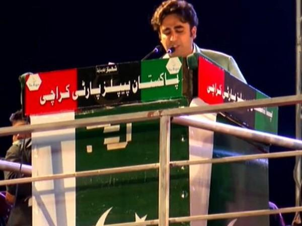 Pakistan People's Party (PPP) Chairperson Bilawal Bhutto-Zardari speaking at the Sunday's anti-government rally.