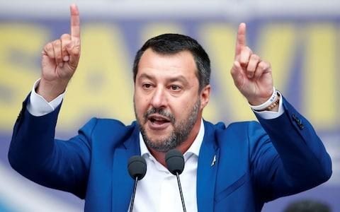 <span>Italy's Deputy Prime Minister Matteo Salvini gestures as he speaks</span> <span>Credit: Reuters </span>
