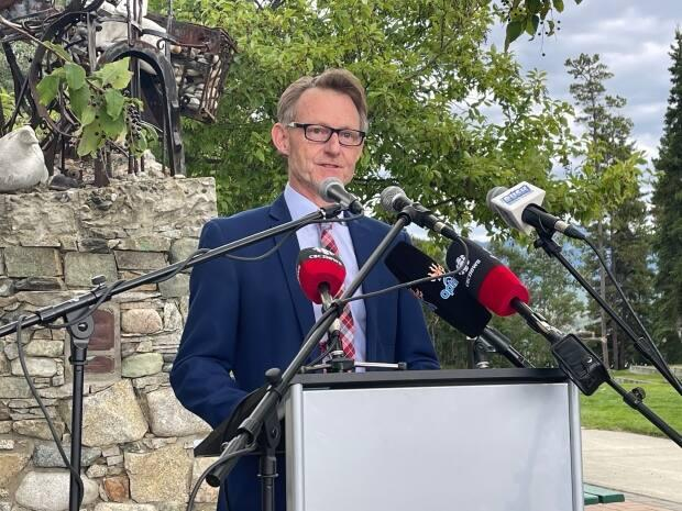 Dr. Brendan Hanley announces that he is taking leave as Yukon's chief medical officer to run as the territory's Liberal candidate in the next federal election, Aug. 10, 2021. (Julien Gignac/CBC - image credit)