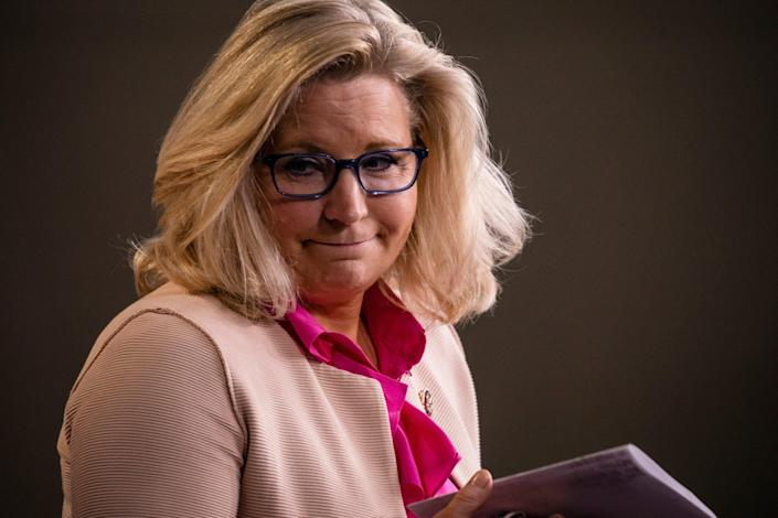 <p>Liz Cheney (R-WY) leaves the podium after speaking during a news conference with other Republican members of the House of Representatives at the Capitol on July 21, 2020 in Washington, DC</p> (Photo by Samuel Corum/Getty Images)