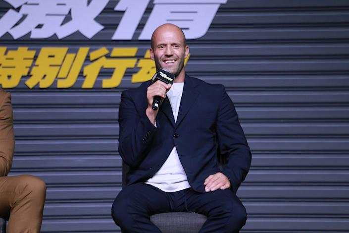 Jason Statham attends a 'Fast & Furious: Hobbs & Shaw' press conference on August 5, 2019. (Photo by Visual China Group via Getty Images)
