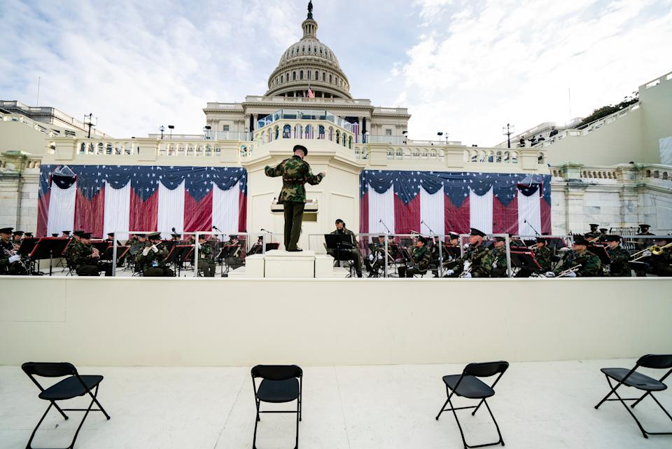 <p>Members of the military band participate in a dress rehearsal for the 59th inaugural ceremony for President-elect Joe Biden and Vice President-elect Kamala Harris at the Capitol</p> (AP)