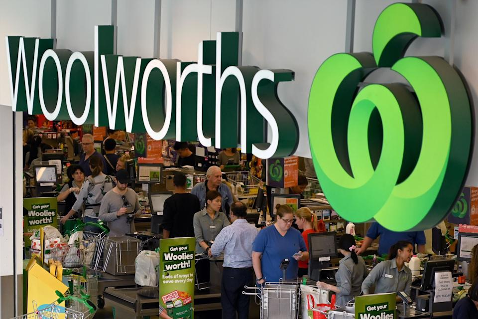 Woolworths store logo and checkouts. Source: Getty Images