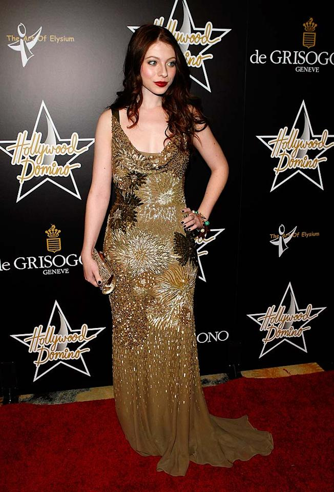 "Even though we know that Michelle Trachtenberg was trying to be a glamour girl, her long beaded dress and heavy makeup make her look much older than her 22 years. Jean Baptiste Lacroix/<a href=""http://www.wireimage.com"" target=""new"">WireImage.com</a> - February 21, 2008"