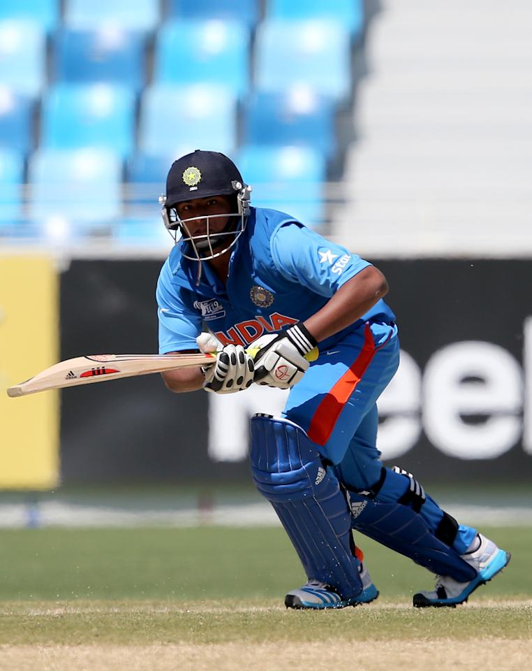 DUBAI, UNITED ARAB EMIRATES - FEBRUARY 22: Sarfarza Khan of India bats during the ICC U19 Cricket World Cup 2014 Quarter Final match between England and India at the Dubai Sports City Cricket Stadium on February 22, 2014 in Dubai, United Arab Emirates.  (Photo by Francois Nel - IDI/IDI via Getty Images)
