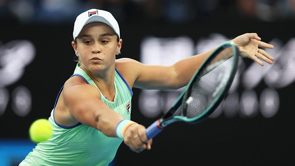 Seen here, Ash Barty set to return a backhand during a match.