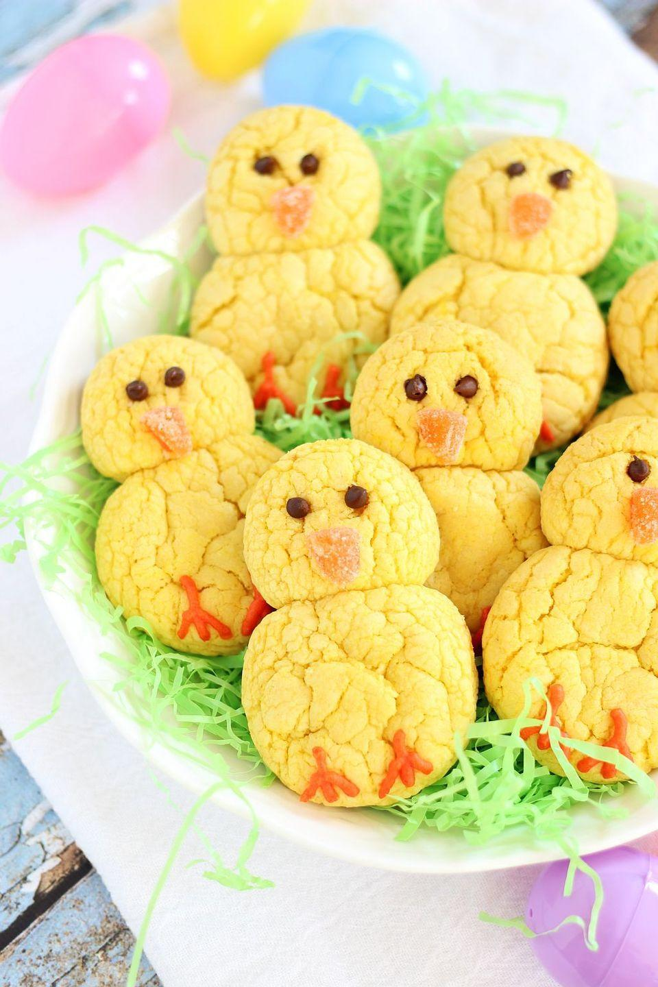 """<p>No one has to know that these little yellow chicks actually came from a <a href=""""https://www.goodhousekeeping.com/food-products/g29413624/best-box-cake-mixes/"""" rel=""""nofollow noopener"""" target=""""_blank"""" data-ylk=""""slk:cake mix"""" class=""""link rapid-noclick-resp"""">cake mix</a>. </p><p><a href=""""https://thegoldlininggirl.com/2015/03/easter-chicks-lemon-cookies/"""" rel=""""nofollow noopener"""" target=""""_blank"""" data-ylk=""""slk:Get the recipe from The Gold Lining Girl »"""" class=""""link rapid-noclick-resp""""><em>Get the recipe from The Gold Lining Girl »</em></a></p>"""