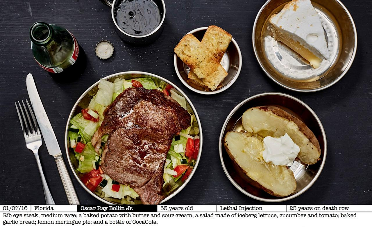 <p>A ribeye steak and baked potato was requested by prisoner Oscar Ray Bollin Jr (Picture: AYearOfKilling.com) </p>