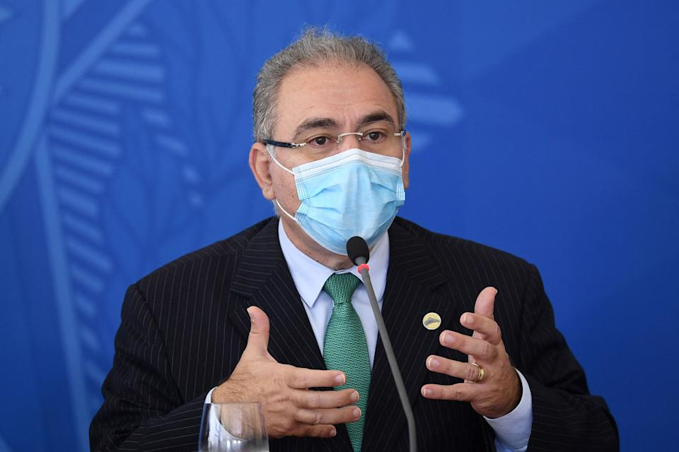 Brazilian Health Minister Marcelo Queiroga speaks during a press conference, after a meeting of the Covid-19 National Coordination Committee to Combat the Pandemic with Brazilian President Jair Bolsonaro at the Planalto Palace in Brasilia, on April 14, 2021. - In the midst of the biggest crisis caused by the uncontrolled pandemic of the new coronavirus, the Brazilian government is looking for solutions to reduce the number of people infected and killed by the COVID-19. (Photo by EVARISTO SA / AFP) (Photo by EVARISTO SA/AFP via Getty Images)
