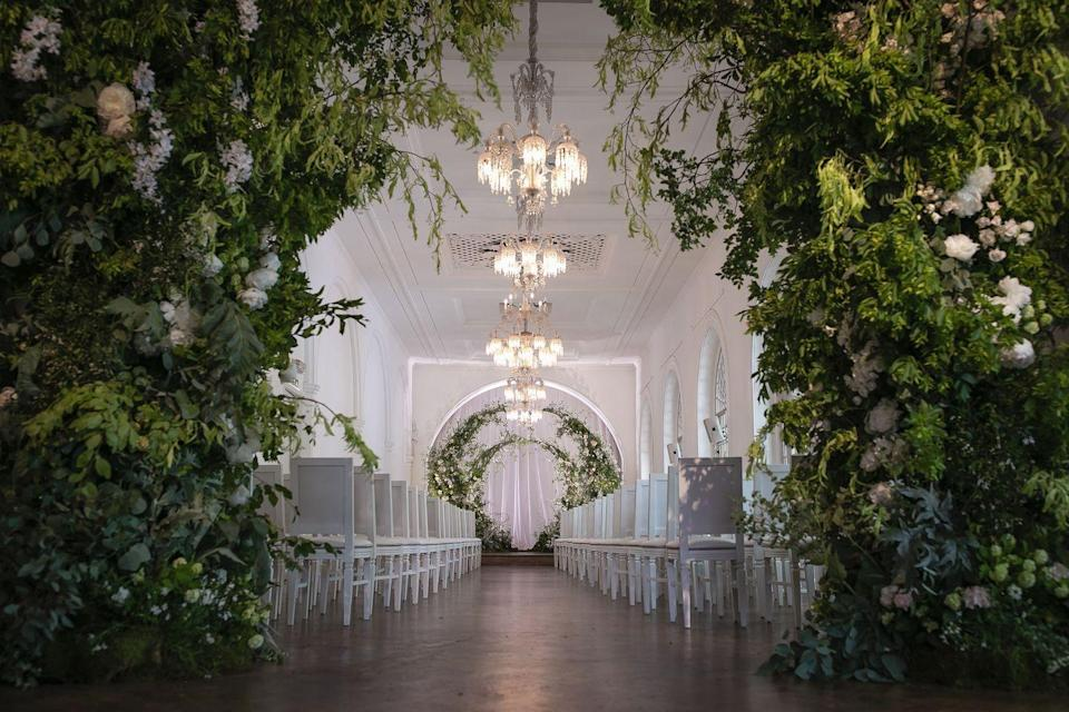 """<p>Built in 1826 on its own 'island' and designed by Sir John Soane, the venue has become a top London wedding destination given its interiors and stone's throw distance from Regent's Park. </p><p>The venue can host up to 350 guests given its two venue spaces which include Sloane Hall (think mosaics, 27-feet ceiling and stained glass windows) and the Galleries for more intimate ceremonies and receptions. </p><p>Find out more <a href=""""https://one-events.co.uk/marylebone/"""" rel=""""nofollow noopener"""" target=""""_blank"""" data-ylk=""""slk:here"""" class=""""link rapid-noclick-resp"""">here</a>. </p>"""
