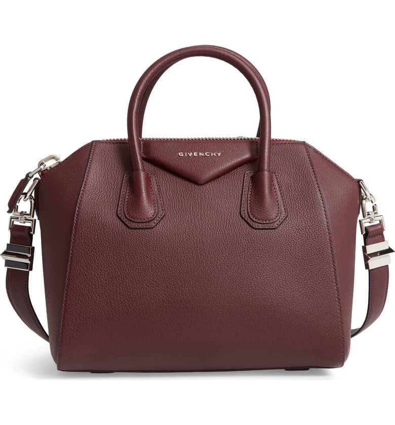<p>If you want a bag that isn't black, why not try this deep burgundy hue? The structured, statement-making <span>Givenchy Small Antigona Leather Satchel</span> ($2,350) is giving us major heart-eyes. </p>
