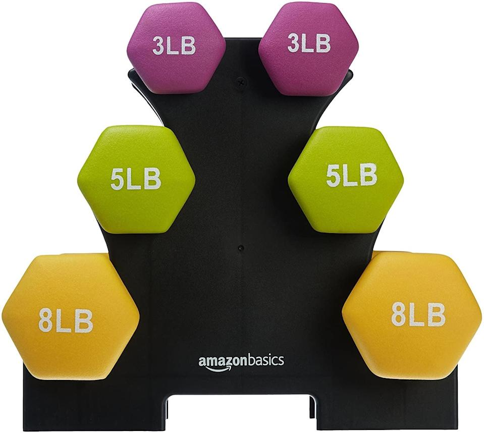 <p>If you're looking to pick up some lighter weights for toning, try this <span>AmazonBasics Neoprene Dumbbell Hand Weights</span> ($28).</p>