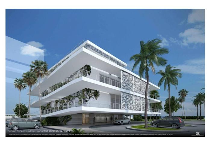 Renderings show the proposed Adaptive Fitness and Recreation Center, designed by architect Kobi Karp, at 5301 Collins Ave. in Miami Beach.