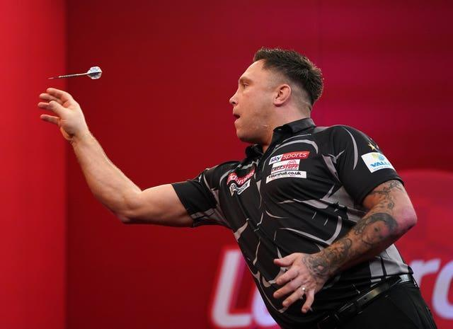 Gerwyn Price during the 2021 Masters tournament