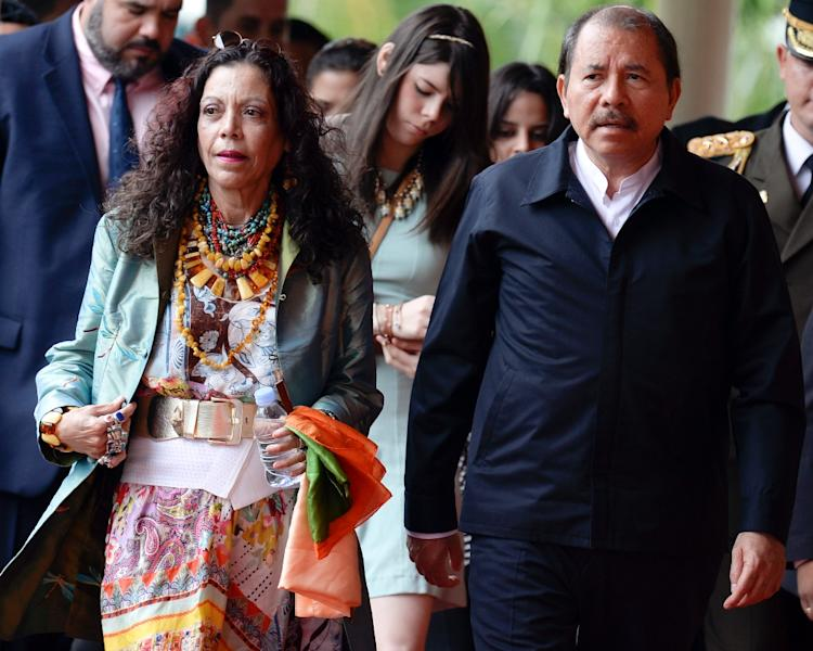 "Nicaraguan first lady Rosario Murillo, pictured in May 2013 with husband Daniel Ortega, says the nation is ""fully ready for dialogue"" with Costa Rica after Pope Francis called December 20 2015 for ""reciprocal cooperation"" to end simmering tensions (AFP Photo/Juan Barreto)"