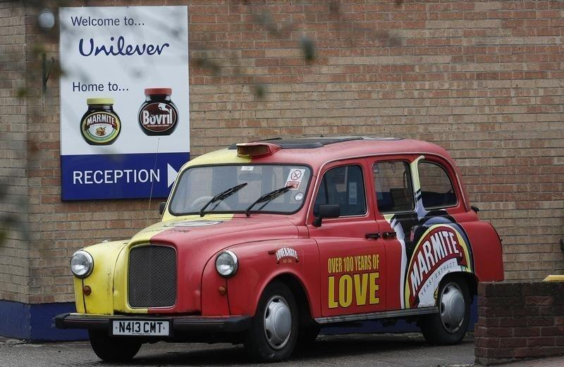 <strong>A branded taxi stands outsideUnilever's Marmite factory in Burton upon Trent.</strong> (Reuters)
