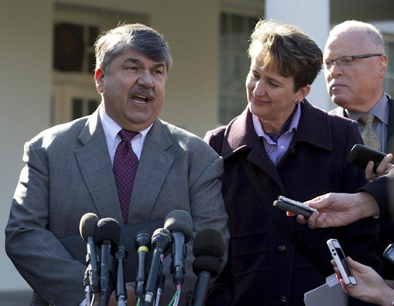 AFL-CIO President Richard Trumka, left, accompanied by Mary Kay Henry, International President of the Service Employees International Union, center, and Lee Saunders, president of the American Federation of State, County and Municipal Employees, right, speaks to reporters outside the White House in Washington, Tuesday, Nov. 13, 2012, after a meeting between business leaders and President Barack Obama to discuss the economy and deficit. (AP Photo/Carolyn Kaster)