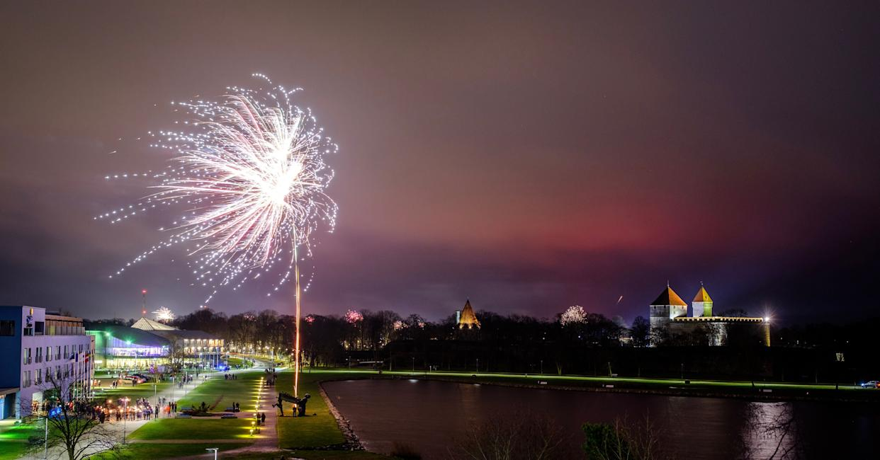 Fireworks are seen near Kuressaare Castle during New Year's celebrations. (Photo: SOPA Images via Getty Images)