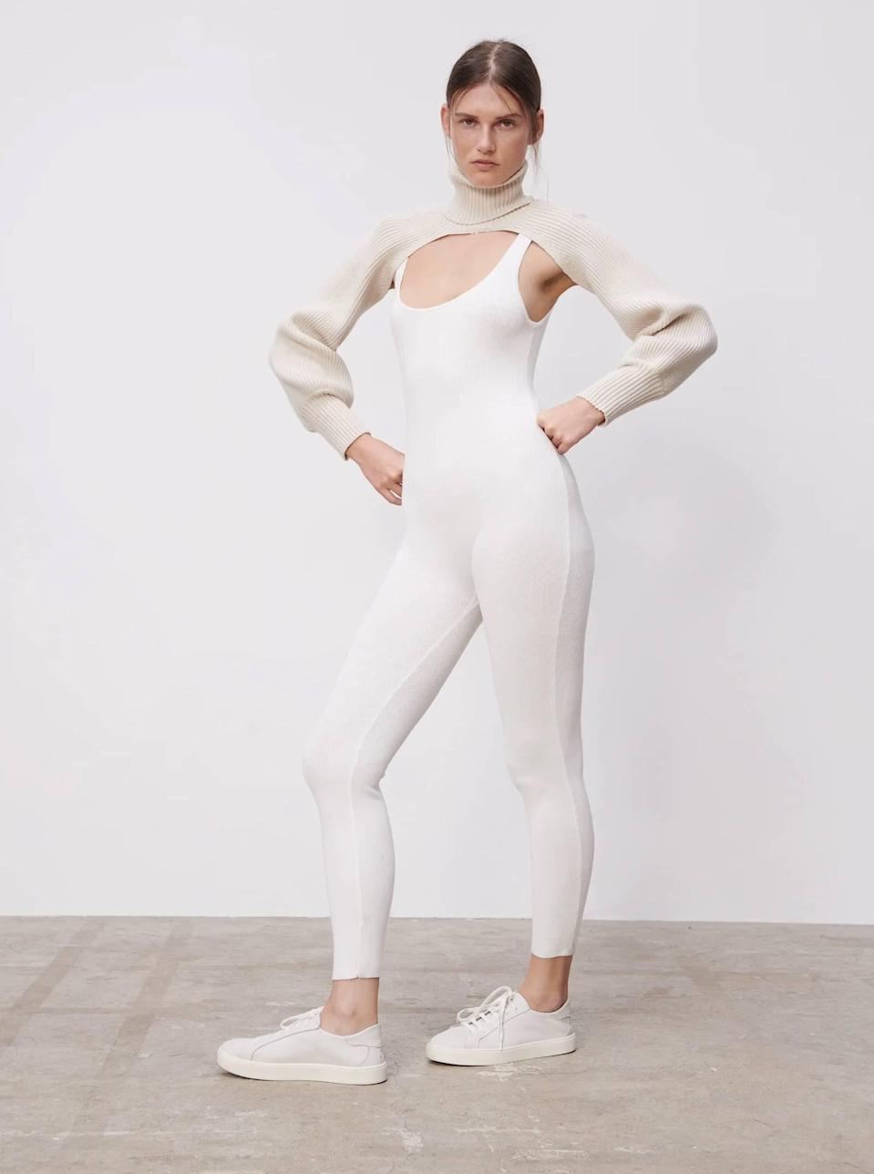 """Zara is always serving seasonal inspiration—and this combo is pure genius. <a href=""""https://www.glamour.com/gallery/best-unitards?mbid=synd_yahoo_rss"""" rel=""""nofollow noopener"""" target=""""_blank"""" data-ylk=""""slk:Unitards"""" class=""""link rapid-noclick-resp"""">Unitards</a> and a bolero <em>turtleneck</em>? Yes and yes. $30, Zara. <a href=""""https://www.zara.com/us/en/turtleneck-sleeve-scarf-p05536146.html"""" rel=""""nofollow noopener"""" target=""""_blank"""" data-ylk=""""slk:Get it now!"""" class=""""link rapid-noclick-resp"""">Get it now!</a>"""