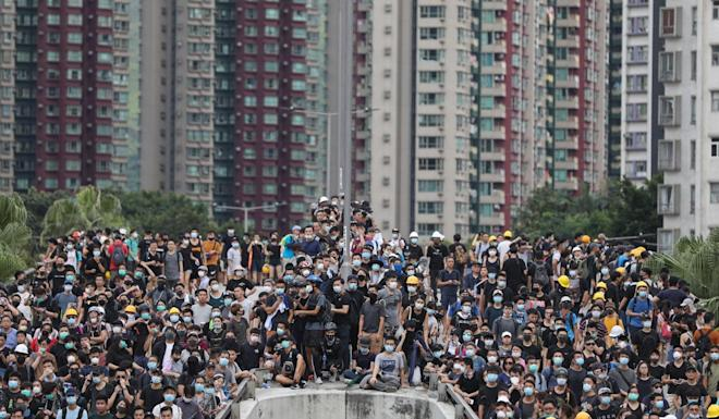 Protesters at a mass rally in Yuen Long on July 27, 2019. Photo: EPA-EFE