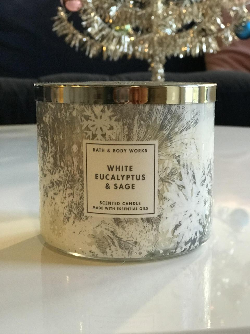 <p><span>White Eucalyptus and Sage 3-Wick Candle</span> ($15, originally $25)</p> <p><strong>What It Smells Like:</strong> Going to a spa on a snowy Swiss mountain top.</p>