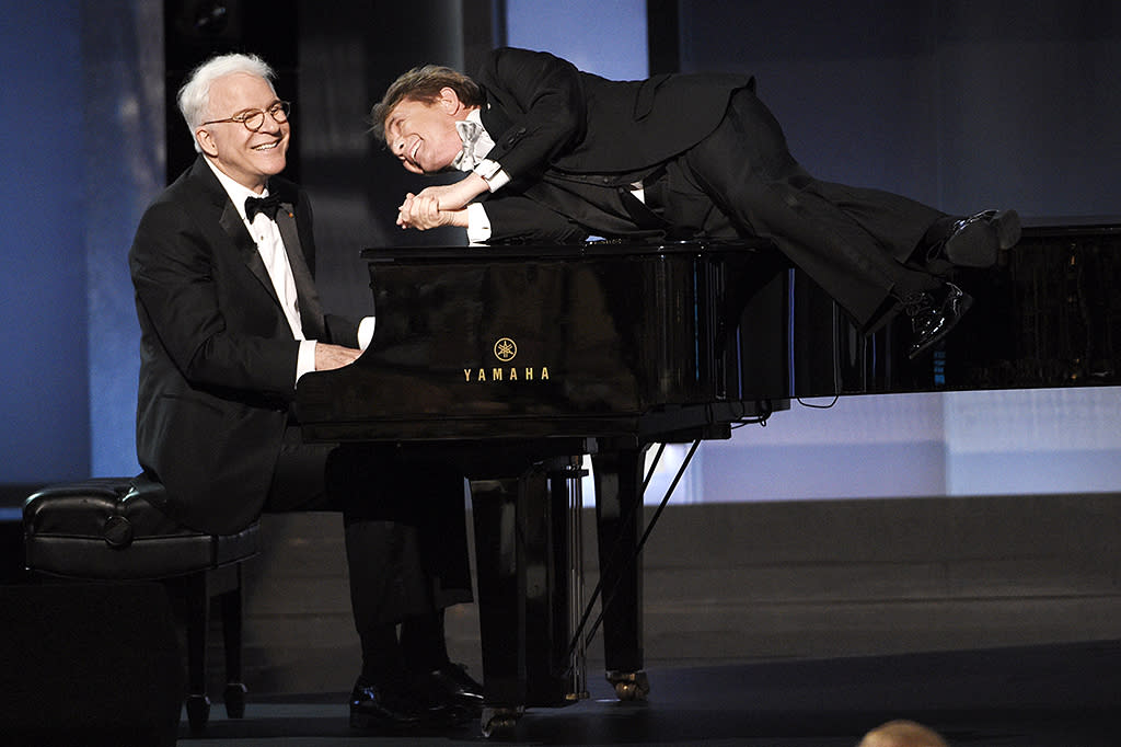 <p>Keaton's<em> Father of the Bride </em>co-stars were in the house, too! As usual, they kept the audience laughing. (Photo: Chris Pizzello/Invision/AP) </p>
