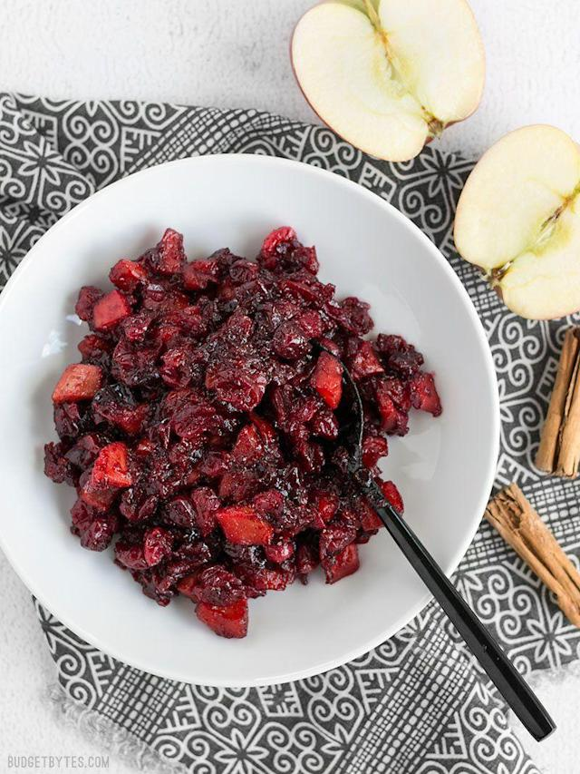 "<p>Make extra - you can spread leftovers on crackers with cheese for an A+ snack or app.</p><p>Get the recipe from <a href=""https://www.budgetbytes.com/roasted-apple-cranberry-relish/"" rel=""nofollow noopener"" target=""_blank"" data-ylk=""slk:Budget Bytes"" class=""link rapid-noclick-resp"">Budget Bytes</a>.</p>"