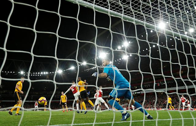 """Soccer Football - Premier League - Arsenal v Wolverhampton Wanderers - Emirates Stadium, London, Britain - November 11, 2018 Arsenal's Henrikh Mkhitaryan scores their first goal Action Images via Reuters/John Sibley EDITORIAL USE ONLY. No use with unauthorized audio, video, data, fixture lists, club/league logos or """"live"""" services. Online in-match use limited to 75 images, no video emulation. No use in betting, games or single club/league/player publications. Please contact your account representative for further details."""