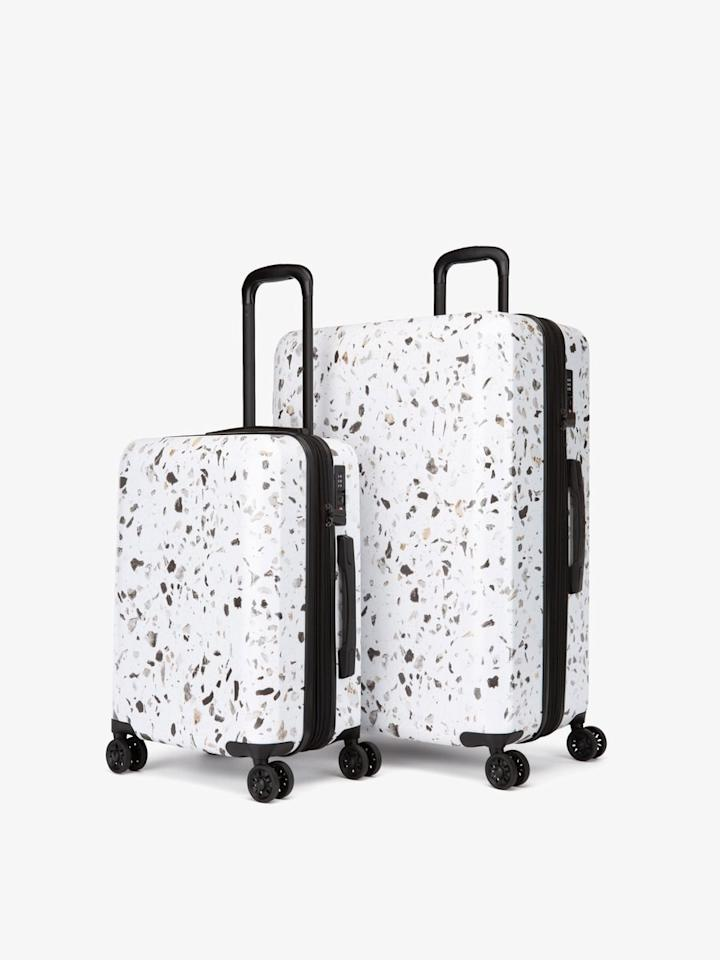 "$325, Calpak. <a href=""https://www.calpaktravel.com/collections/terrazzo-collection/products/terrazzo-2-piece-luggage-set?variant=23715306111034"">Get it now!</a>"