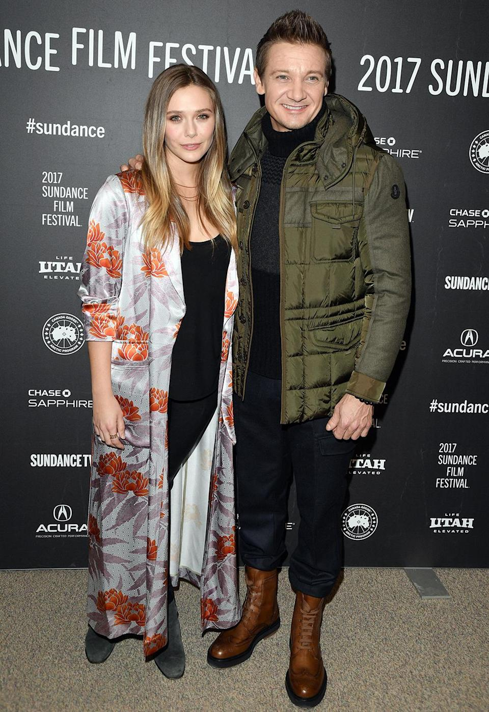 <p>The Avengers reunite for the premiere of 'Wind River' on Jan. 21. (Photo: George Pimentel/Getty Images) </p>