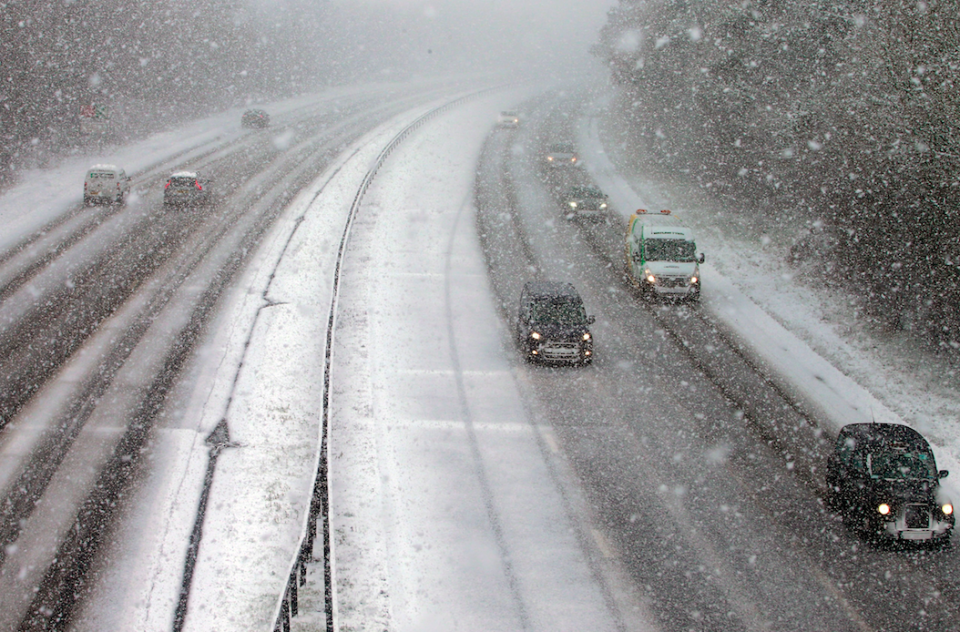 <em>Drivers battle through icy conditions in Swanley, Kent, as the weather warnings may be upgraded (Rex)</em>