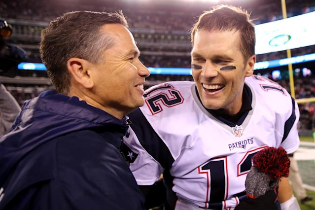 "<a class=""link rapid-noclick-resp"" href=""/nfl/players/5228/"" data-ylk=""slk:Tom Brady"">Tom Brady</a> refused to answer questions about his personal trainer Alex Guerrero, pictured here in 2016, in a radio interview on Monday. (Getty Images)"