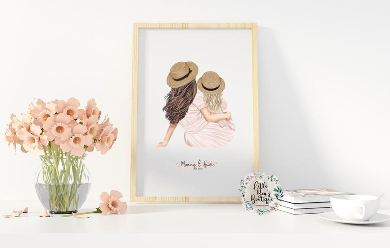 """<p><strong>LittleBeasBoutique</strong></p><p>etsy.com</p><p><strong>$10.12</strong></p><p><a href=""""https://go.redirectingat.com?id=74968X1596630&url=https%3A%2F%2Fwww.etsy.com%2Flisting%2F990783758%2Fcustomised-mothers-day-mom-and-daughter&sref=https%3A%2F%2Fwww.womansday.com%2Flife%2Fg26963417%2Fpersonalized-mothers-day-gifts%2F"""" rel=""""nofollow noopener"""" target=""""_blank"""" data-ylk=""""slk:Shop Now"""" class=""""link rapid-noclick-resp"""">Shop Now</a></p><p>Customize this print with illustrations of you and mom — including pets! When the artist is done, you'll get a digital file and all you have to do is print and frame it on your own. You can't beat the value of this price for this quality. </p>"""