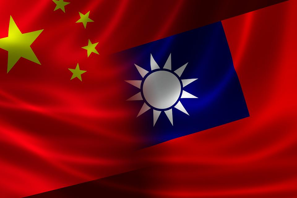 3D rendering of a merged Chinese-Taiwanese flag on silky satin. Concept of the unique cross-Strait relations between the 2 political entities.