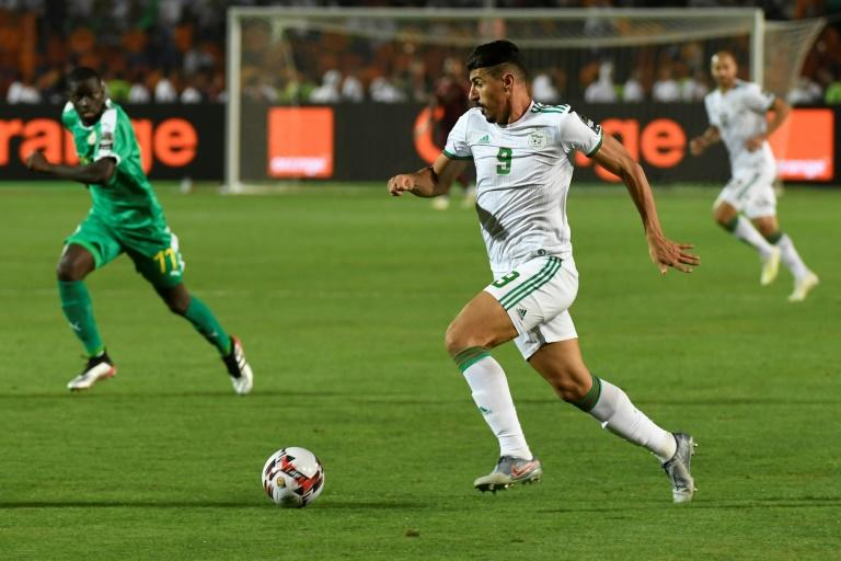 Matchwinner Baghdad Bounedjah (C) playing for Algeria against Senegal in the 2019 Africa Cup of Nations final in Cairo