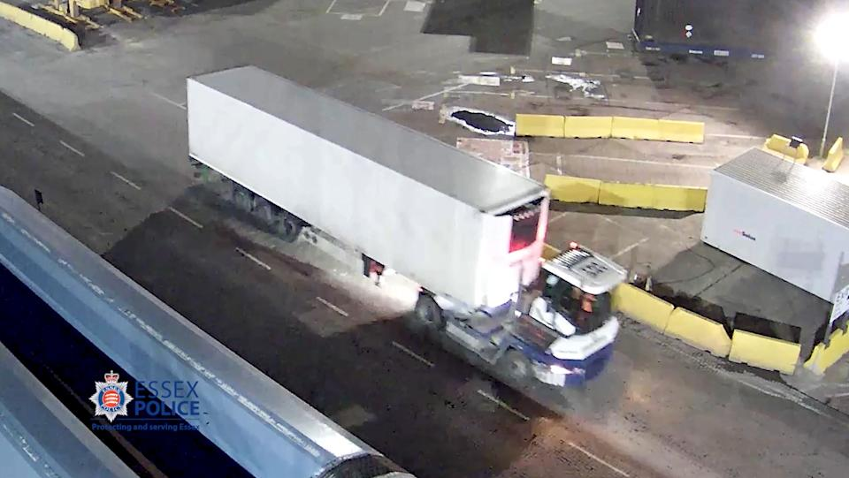 CCTV of the trailer being taken off the ship at Port of Purfleet. (PA/Essex Police)