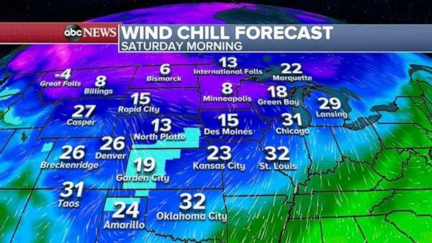 PHOTO: Wind chills are also expected to be widespread on Saturday morning.    (ABC News)